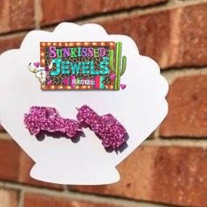 New Pink Glitter Jeep Earrings!